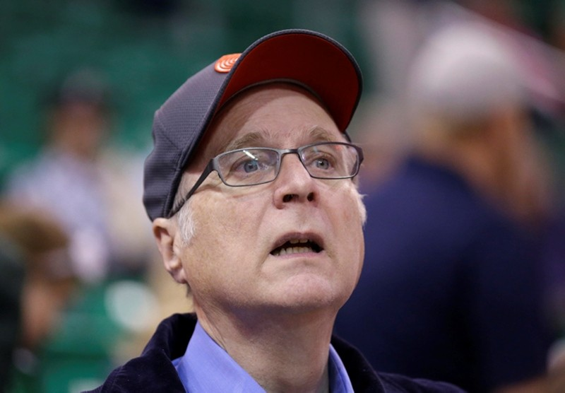 In this Oct. 12, 2015 file photo, Portland Trail Blazers owner Paul Allen looks on before the start of the first quarter of an NBA preseason basketball game against the Utah Jazz in Salt Lake City. (AP Photo)