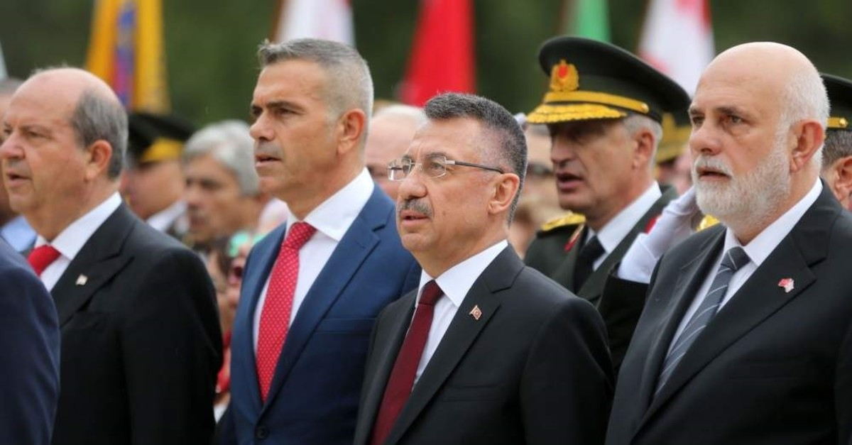 Vice President Fuat Oktay (Second from the right) attends a ceremony to mark the 36th anniversary of the TRNC in Lefko?a. Friday, Nov. 15, 2019 (AA Photo)