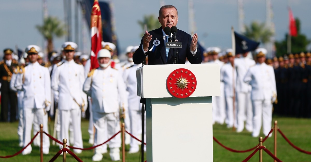 President Recep Tayyip Erdou011fan speaks at a graduation ceremony at the National Defense University in Istanbul, Aug. 31, 2019.