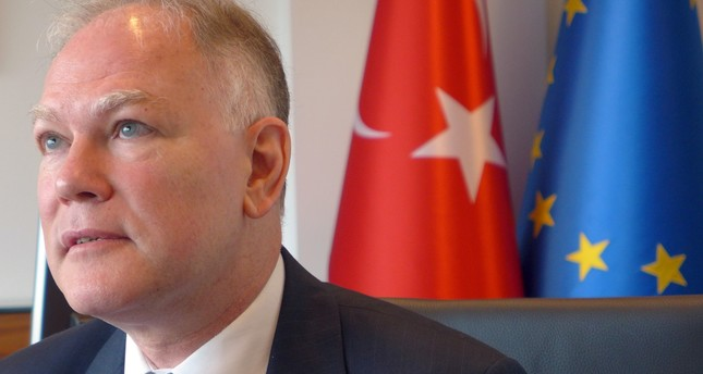 Turkey's Ambassador to the European Union Selim Yenel speaks during an interview at the Turkish embassy in Brussels on Thursday, Aug. 11, 2016. AP Photo
