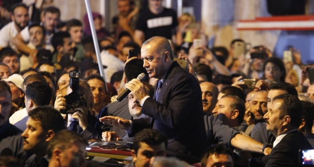 President Recep Tayyip Erdoğan addresses people in his hometown in the northeastern province of Rize, Aug.10, 2018.