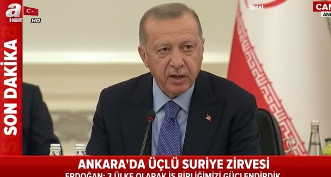 أردوغان في القمة الثلاثية: متفقون على إيجاد حل سياسي دائم للصراع السوري