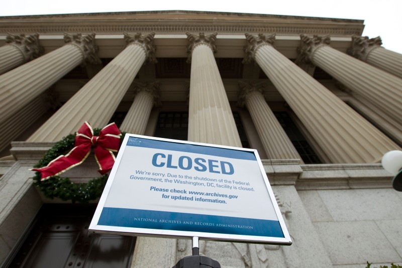 A closed sign is displayed at The National Archives entrance in Washington, Tuesday, Jan. 1, 2019, as a partial government shutdown stretches into its third week. (AP Photo)