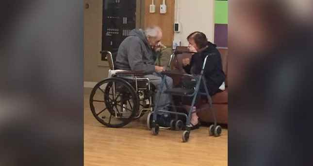 The couple, who are in their 80s, were separated into two different care homes a half an hour apart after 62 years of marriage because no beds were available together. (AP Photo provided by Ashley Bartyik)