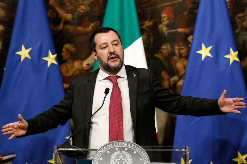 Italian Deputy Premier and Interior Minister Matteo Salvini speaks at a press conference following a Cabinet meeting at Chigi Palace's premier office in Rome, Thursday, Jan. 17, 2019. (AP Photo)