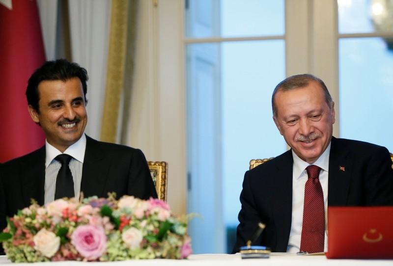 President Recep Tayyip Erdou011fan (R) meets with Qataru2019s Sheikh Tamim bin Hamad Al Thani (L) during the fourth meeting of the Turkey-Qatar High Strategic Committee in Istanbul, on Monday.