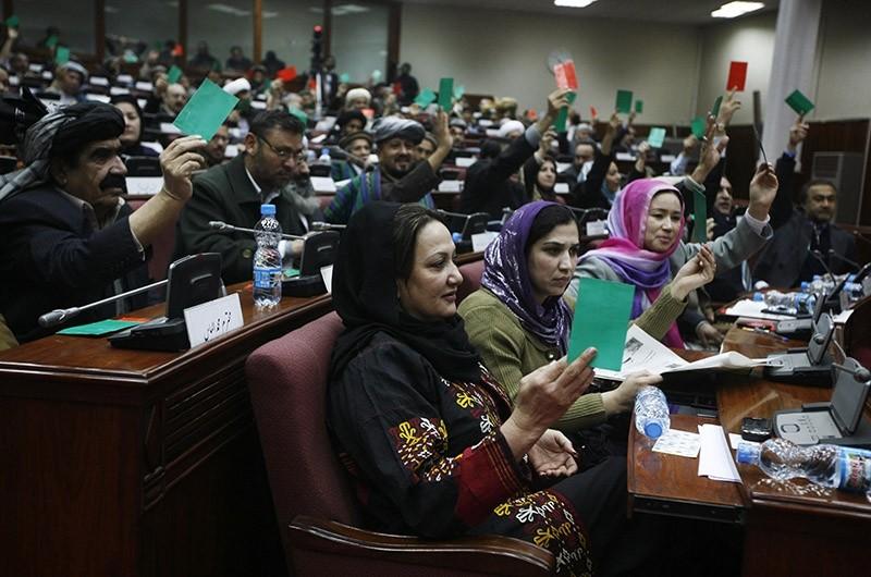Afghan parliament members vote during a debate in Kabul, Afghanistan. (AP File Photo)