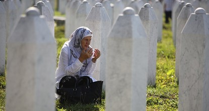 pA Serbian appeals court has stopped a landmark trial of eight former Bosnian Serb police officers charged with taking part in the 1995 Srebrenica massacre Thursday./p