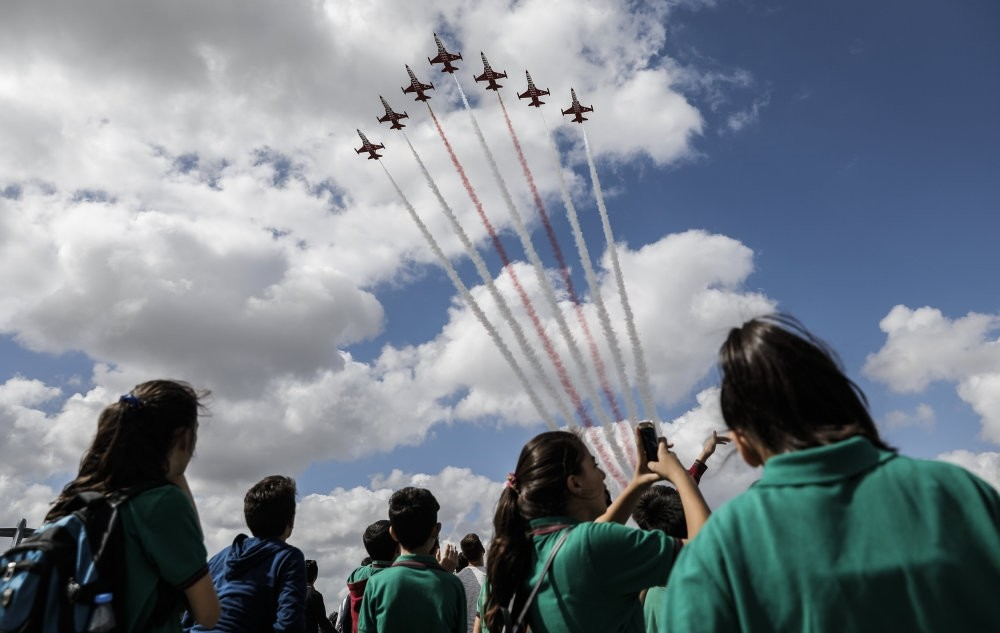 The Turkish Stars, the Turkish Air Forceu2019s aerobatic demonstration team, puts on a  show at TEKNOFEST on Sept. 20.