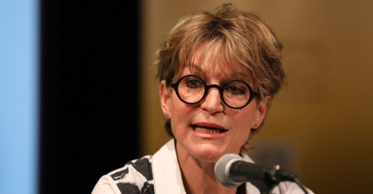 UN special rapporteur on extrajudicial, summary or arbitrary executions Agnes Callamard speaks on the killing of Saudi journalist Jamal Khashoggi during an Amnesty International event in London on July 9, 2019. (AFP Photo)