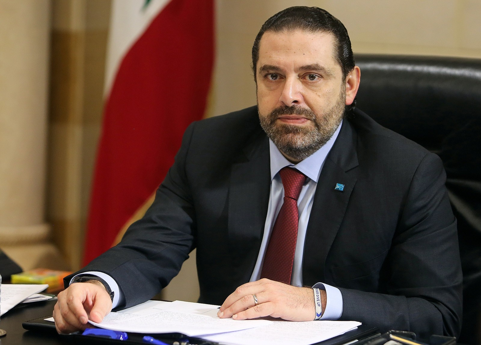 Lebanese Prime Minister Saad al-HarirI is seen during the meeting to discuss a draft policy statement at the governmental palace in Beirut, Lebanon Feb. 6, 2019. (Reuters Photo)