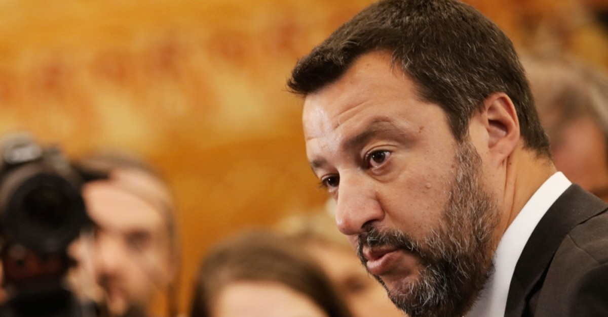 Italian Interior Minister and Vice Premier Matteo Salvini answers reporters during a media conference at the G7 Interior Ministers meeting in Paris, Friday, April 5, 2019. (AP Photo)