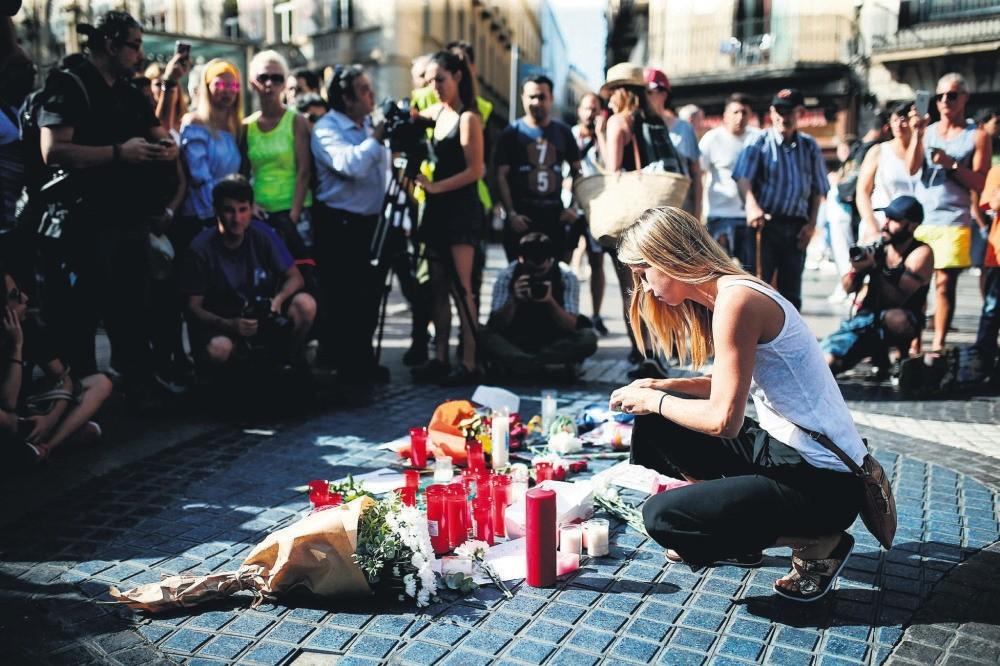 People gathered on the famous avenue Las Ramblas, Barcelona on Aug. 18.