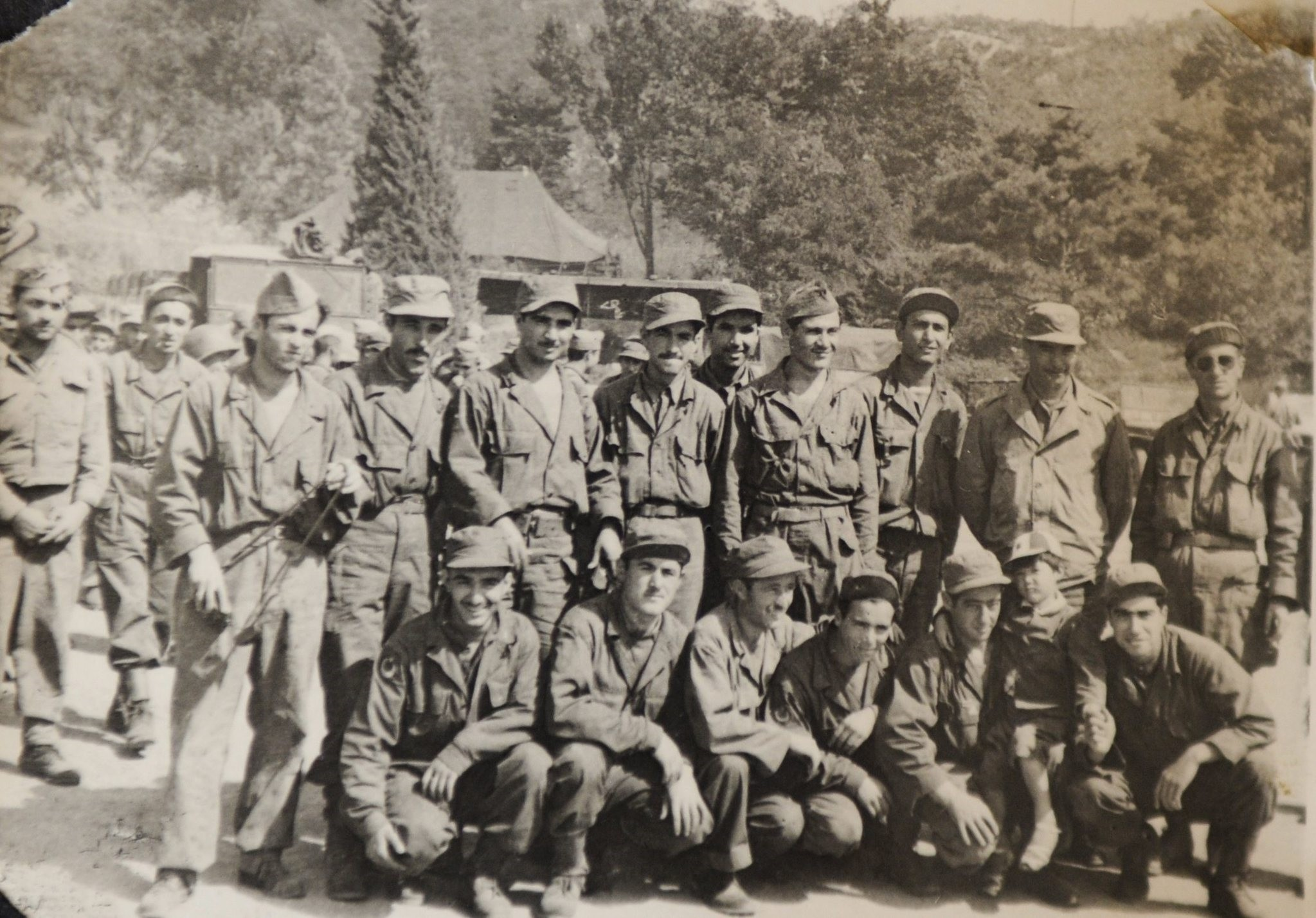 In this undated photo, Turkish soldiers participating in the Korean War pose for a picture at their base.