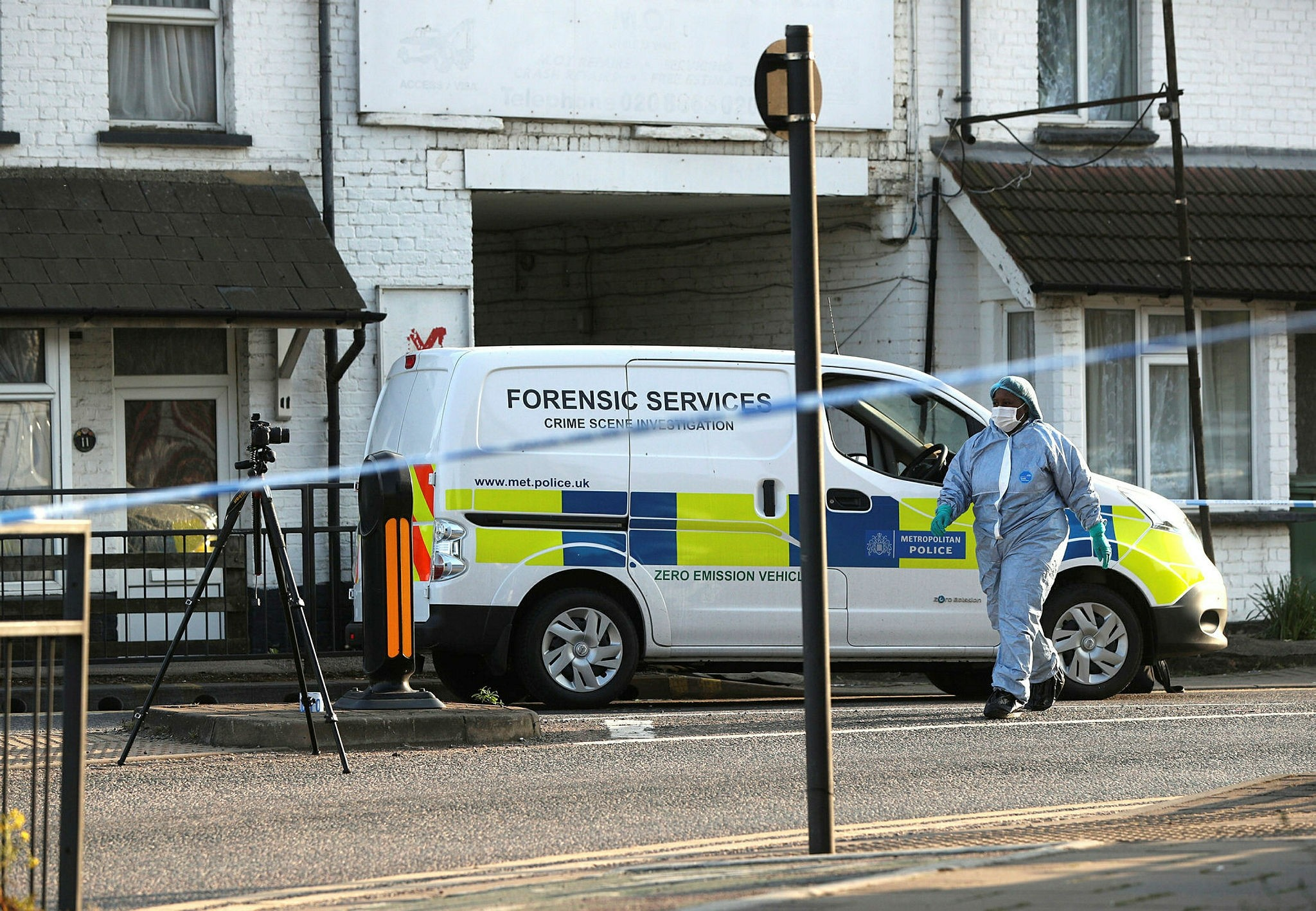 Police attend the scene following two shootings at two locations in close proximity, in the Wealdstone area of London, Sunday May 6, 2018. (AP Photo)
