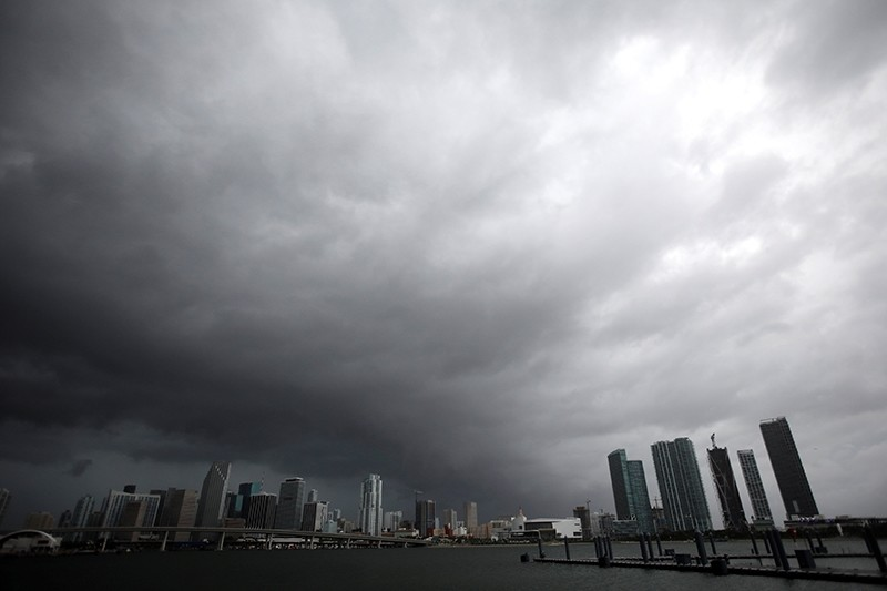 Dark clouds are seen over Miami's skyline prior to the arrival of Hurricane Irma to south Florida, U.S., September 9, 2017. (REUTERS Photo)