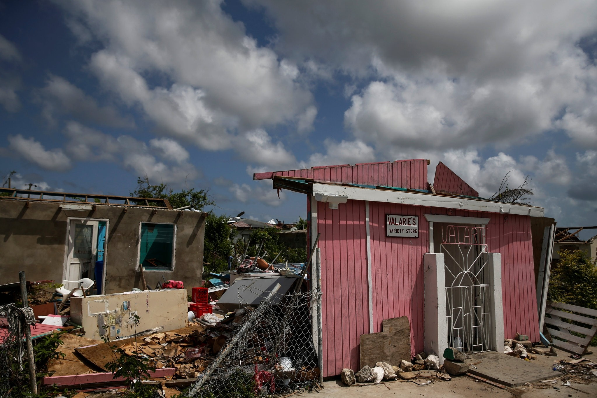 Homes sit in ruin at Codrington on the island of Barbuda a month after Hurricane Irma struck the Caribbean islands of Antigua and Barbuda, Oct. 7.