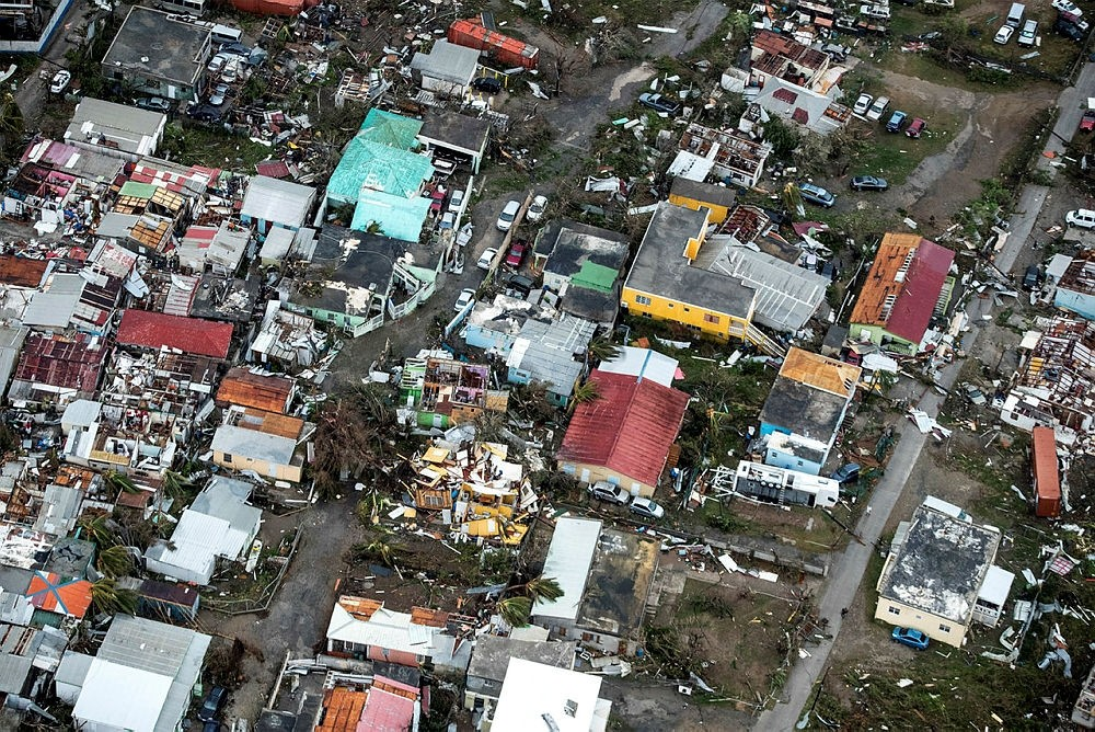 This Sept. 6, 2017 photo provided by the Dutch Defense Ministry shows storm damage in the aftermath of Hurricane Irma, in St. Maarten. (Dutch Defense Ministry via AP)