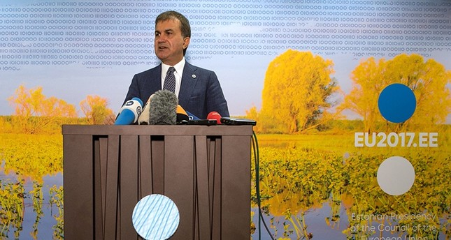 European Union Affairs Minister Ömer Çelik speaks during a press conference in Tallinn, Estonia on September 8, 2017 (AFP Photo)