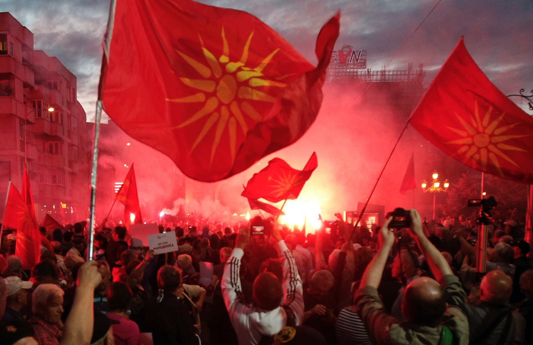 Opponents of the name deal between Greece and Macedonia gathered outside the parliament, Skopje, June 23.
