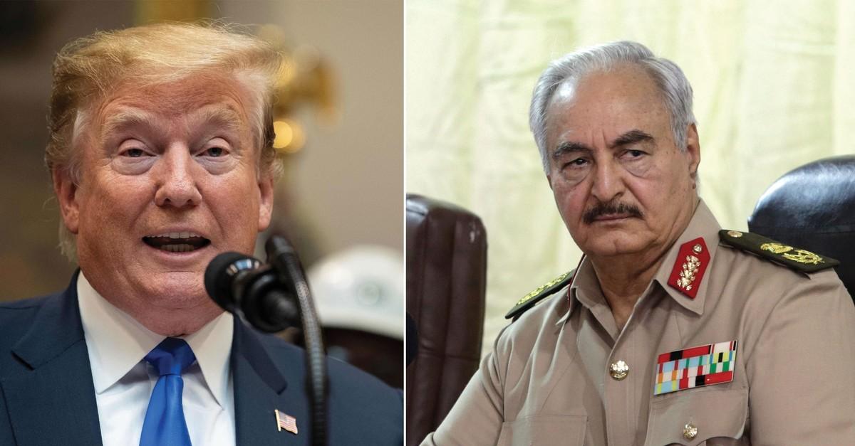 Trump (L) and Haftar