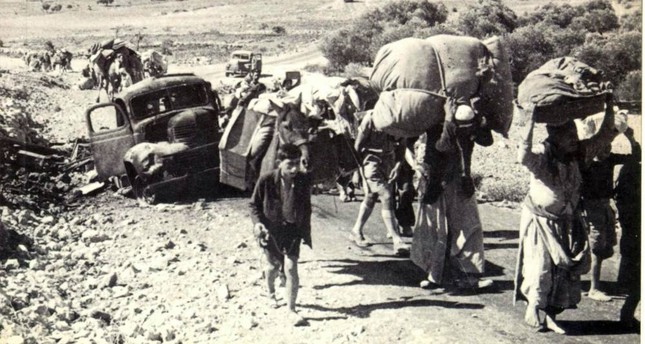 People who were suddenly forced to leave their homes try to find a safe place for themselves after the Israeli occupation in the late 1940s.