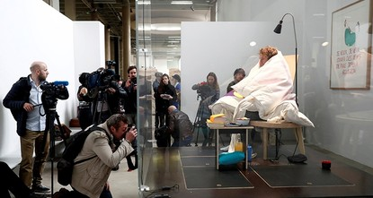 pFrench artist Abraham Poincheval, who famously spent a week inside a rock and two weeks inside a bear sculpture, has succeeded in hatching chicken eggs after incubating them for some three...