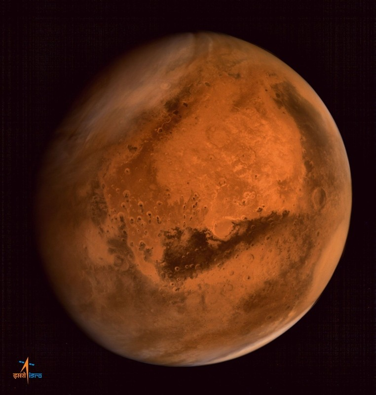 In this handout photograph received from the Indian Space Research Organisation (ISRO) on September 30, 2014, the planet Mars is seen in an image taken by the ISRO Mars Orbiter Mission (MOM) spacecraft. (AFP Photo)