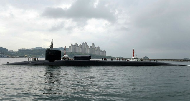 The Ohio-class guided-missile submarine USS Michigan (SSGN 727) arrives in Busan, South Korea, April 25.