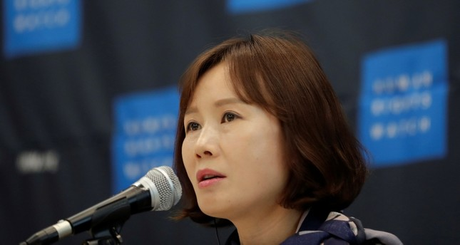 Lee So Yeon, a woman who served in the North's army before her 2008 escape, speaks during a news conference in Seoul, South Korea, Thursday, Nov. 1, 2018. (AP Photo)