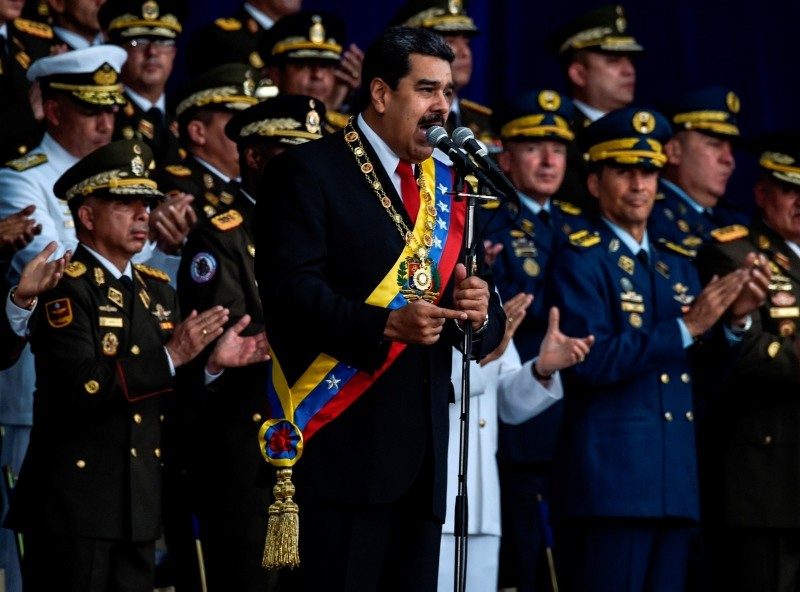 Venezuelan President Nicolas Maduro delivers a speech during a ceremony to celebrate the 81st anniversary of the National Guard in Caracas on August 4, 2018. (AFP Photo)