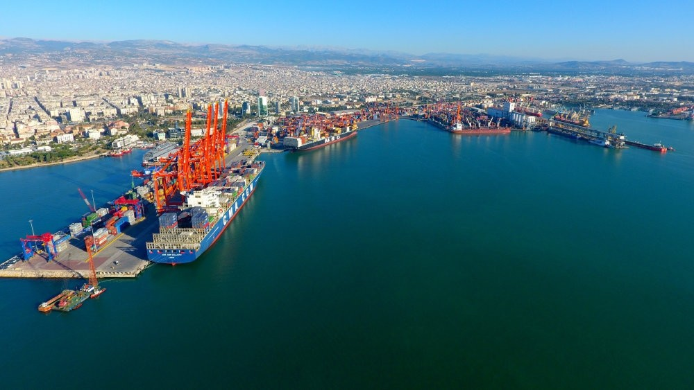 An aerial view of Mersin Port. The importance of Turkish ports are particularly highlighted by Chinese authorities who seek closer cooperation with Turkey within the framework of Belt and Road Project (BRI).