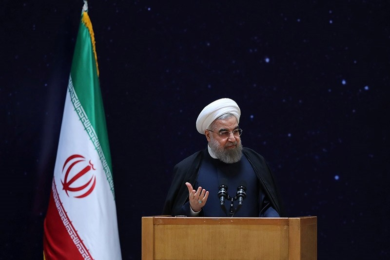 Iran's President Hassan Rouhani gestures as he speaks during a ceremony marking National Day of Space Technology in Tehran, Iran February 1, 2017. (Reuters Photo)