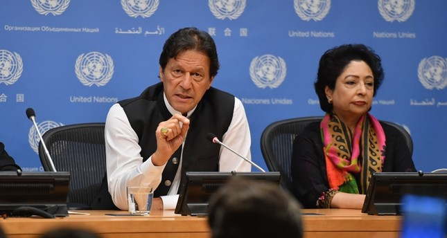 Pakistani Prime Minister Imran Khan speaks during a press conference at the United Nations Headquarters in New York on September 24, 2019 (AFP Photo)