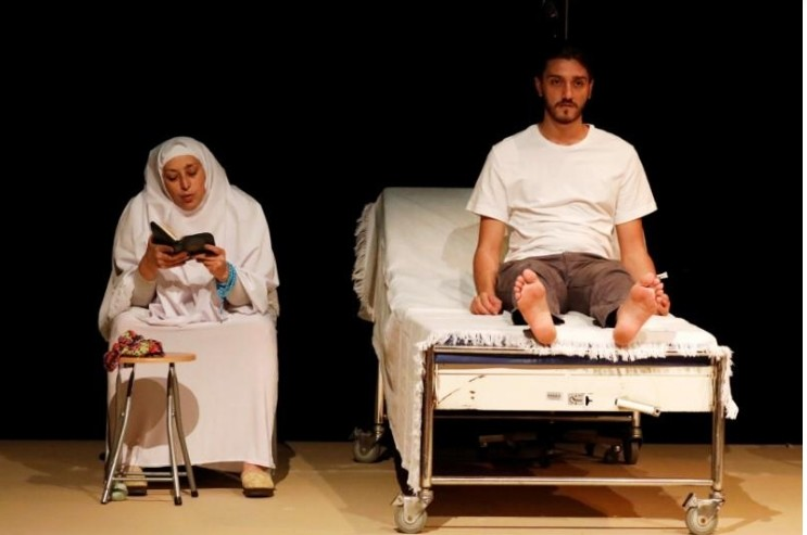 Actors perform during a rehearsal of the play called ,While I Was Waiting,, at Dawar al-Shams theatre in Beirut, Lebanon.