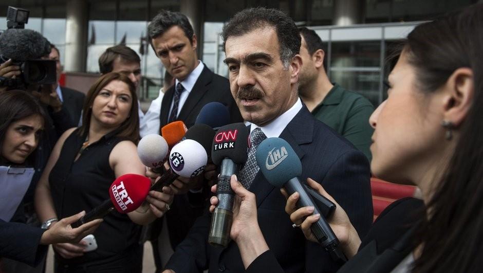 Iraqi Kurdistan Regional Government (KRG) spokesperson Safin Dizayi speaks to reporters in Turkey.