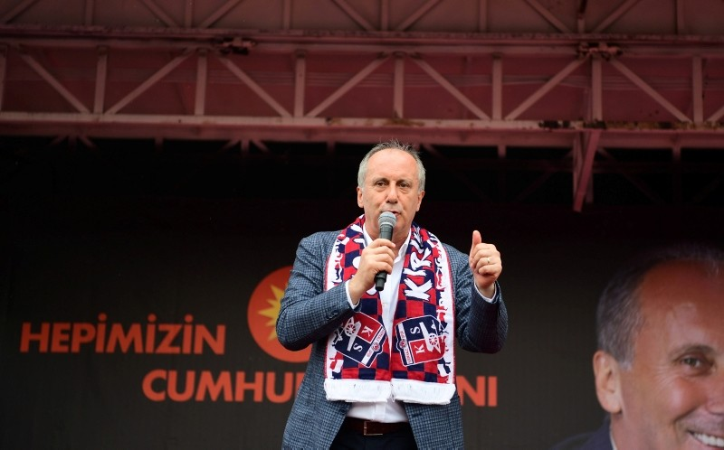 Muharrem u0130nce, presidential candidate of Turkeyu2019s main opposition Republican Peopleu2019s Party (CHP), speaks during an election campaign rally in Ku0131ru0131kkale, May 30.