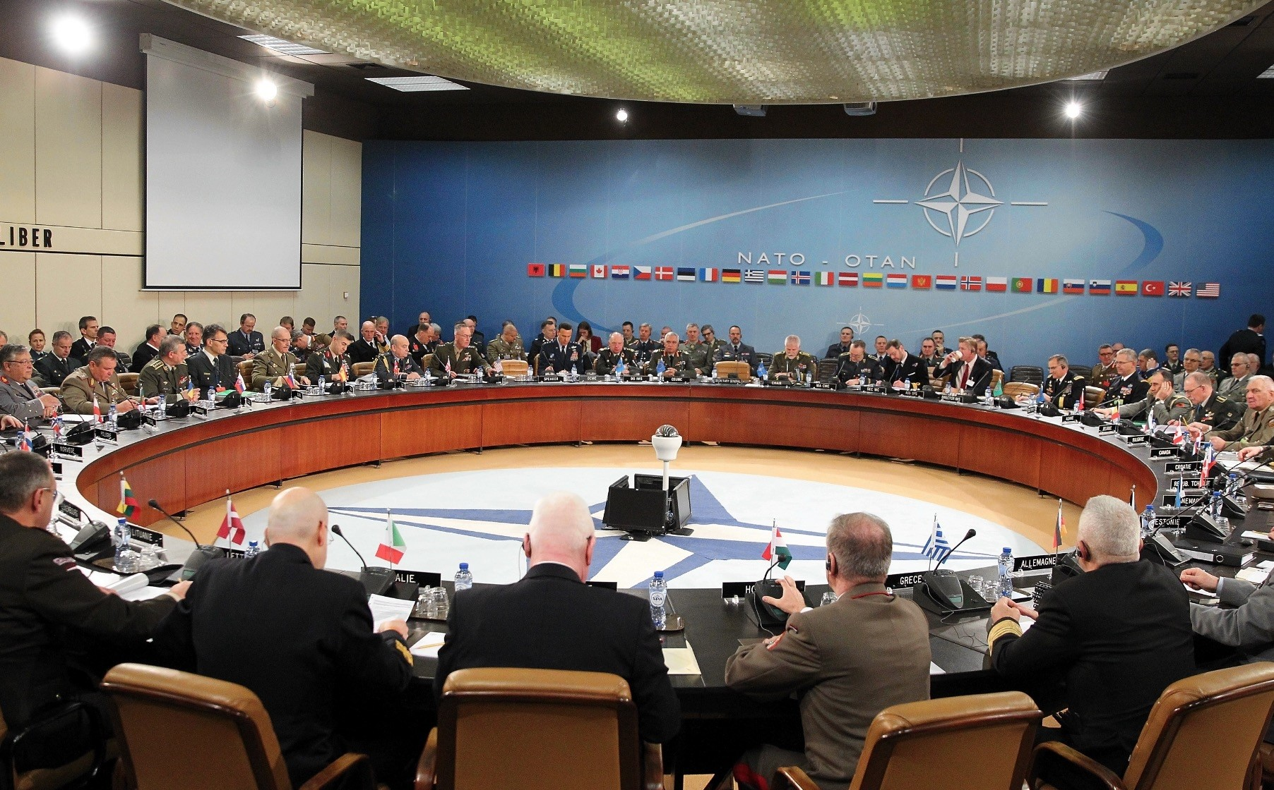 The NATO military committee in a meeting to discuss global terrorism, Brussels, Belgium, Jan. 16.