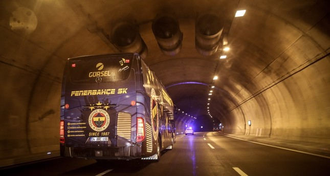 The bus carrying Fenerbahçe players heads to Istanbul after the match on Dec. 9.
