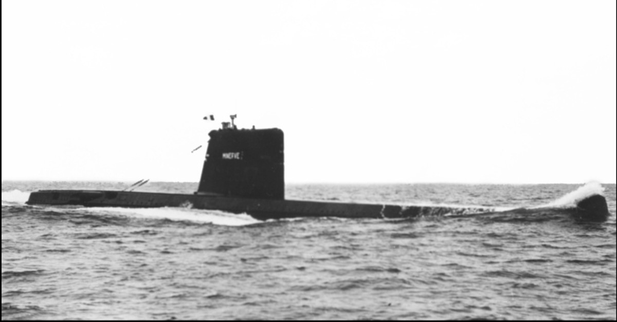 An undated photograph shows the ,Minerva,, a French submarine class ,Daphne, seen at sea during a military exercise. (AFP Photo)