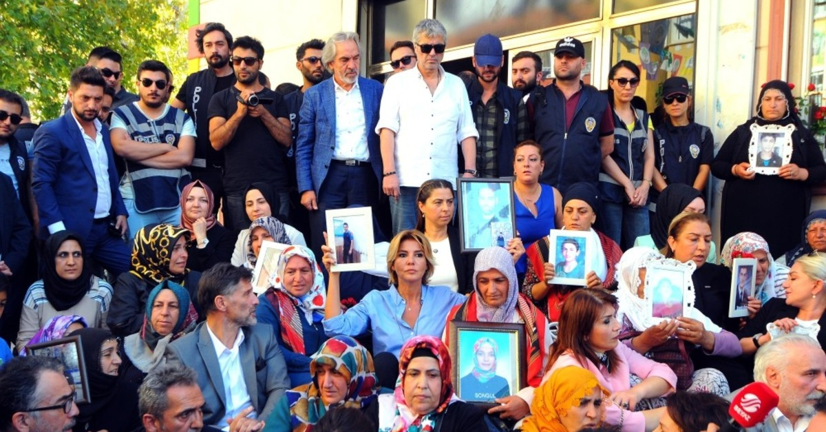 Celebrities support Kurdish mothers by sitting alongside with them during their protest against the PKK in HDP headquarters in Diyarbaku0131r, Sept. 13, 2019.