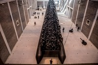 Ai Weiwei's biggest work of art, a giant refugee boat, goes on display in Prague