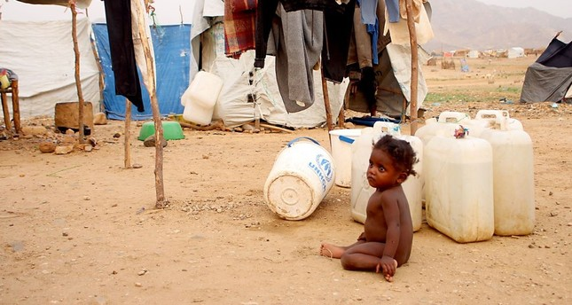 A displaced Yemeni child at a makeshift camp in the district of Abs in Yemen's northwestern Hajjah province, June 10, 2019.