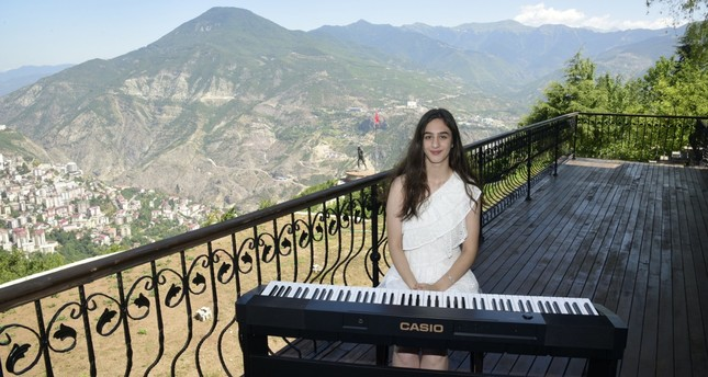 A student on the piano at Atatepe, Artvin, Aug. 5, 2019.