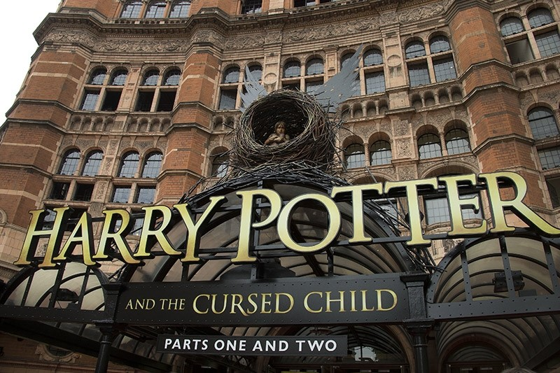 This July 30, 2016, file photo shows the Palace Theatre in central London which is showing a stage production of, ,Harry Potter and the Cursed Child., (AP Photo)
