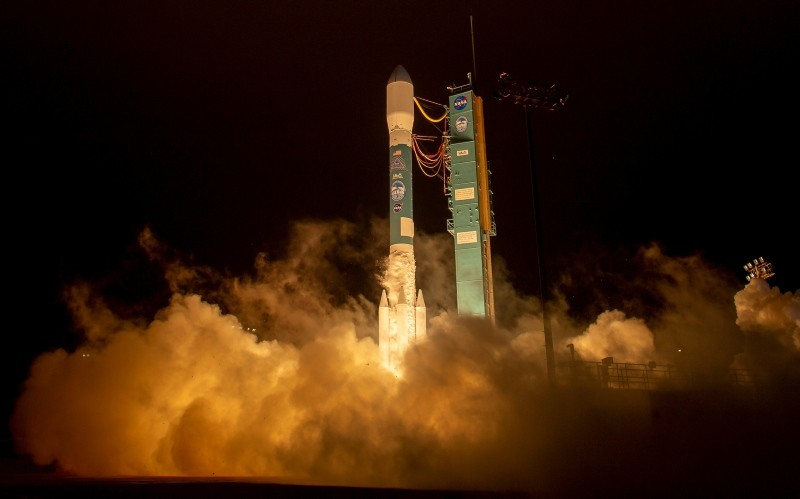 This photo provided by NASA shows a Delta 2 rocket carrying ICESat-2 lifting off from Vandenberg Air Force Base, Calif., on Saturday, Sept. 15, 2018. (AP Photo)