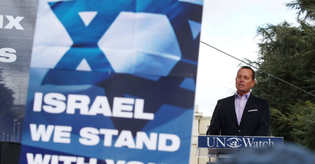 Richard Grenell, U.S. Ambassador to Germany attends the ,Rally for Equal Rights at the United Nations (Protesting Anti-Israeli Bias), aside of the Human Rights Council at the United Nations in Geneva, Switzerland, March 18, 2019. (Reuters Photo)