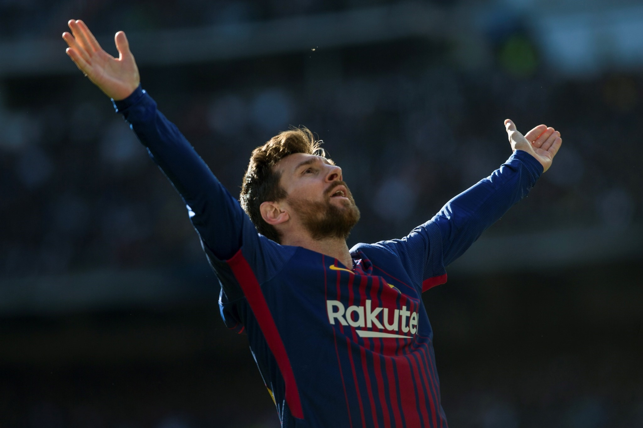 FC Barcelona's Argentine forward Lionel Messi celebrates after scoring the 0-2 goal during the Spanish Primera Division match against Real Madrid in Madrid, Spain, Dec. 23 2017. (EPA Photo)