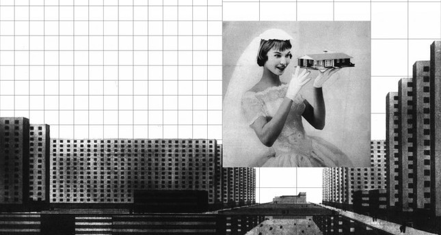 "Mona Mahall - Aslı Serbest, collage, 2018 Rendering of Ludwig Hilberseimer's ""City of Scyscrapers"" (1924) / ""Post-War Bride"" (1956)."