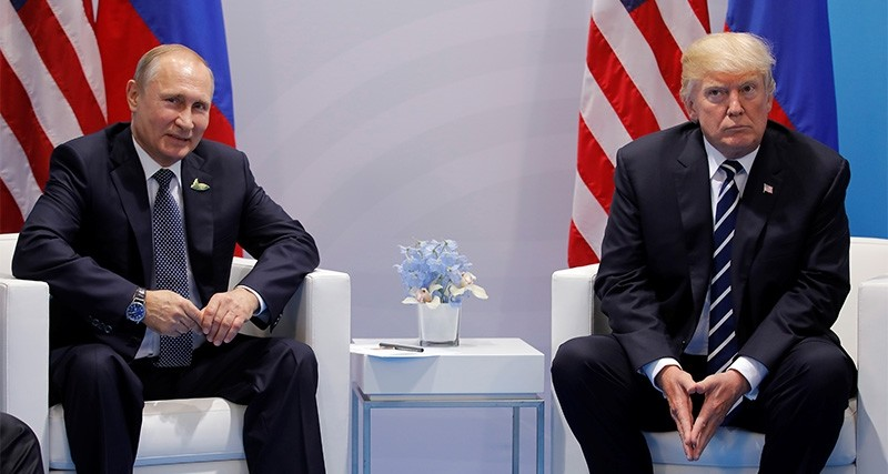 U.S. President Donald Trump meets with Russian President Vladimir Putin during their bilateral meeting at the G20 summit in Hamburg, Germany July 7, 2017. (Reuters Photo)